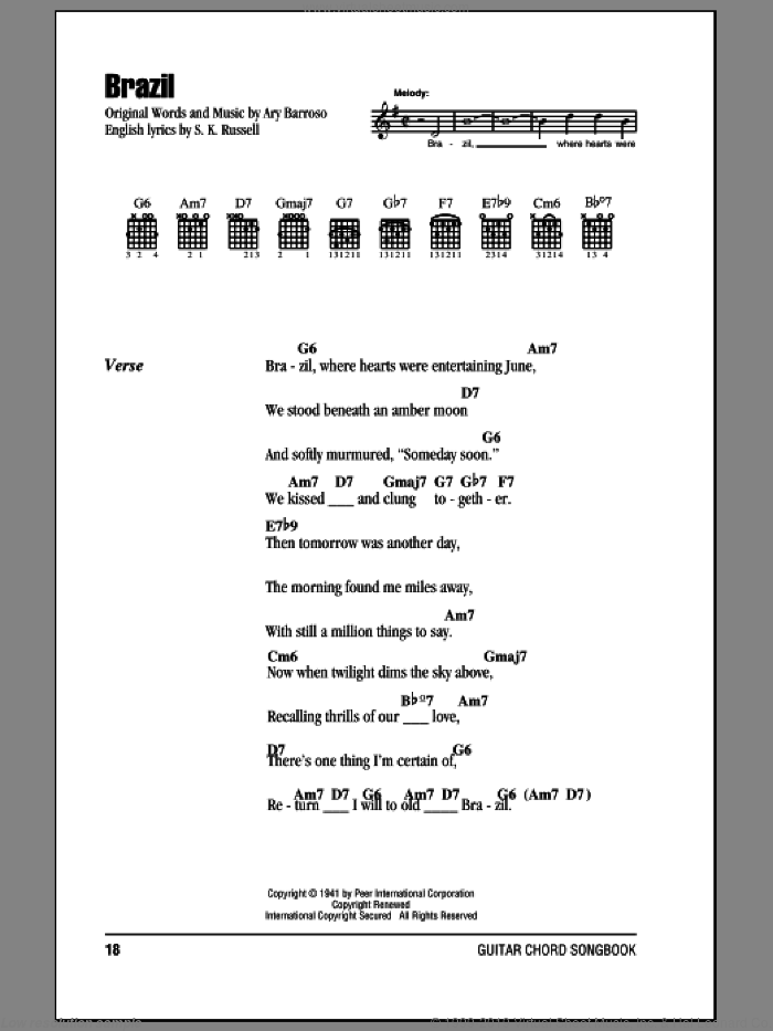 Brazil sheet music for guitar (chords) by The Ritchie Family and Ary Barroso, intermediate. Score Image Preview.