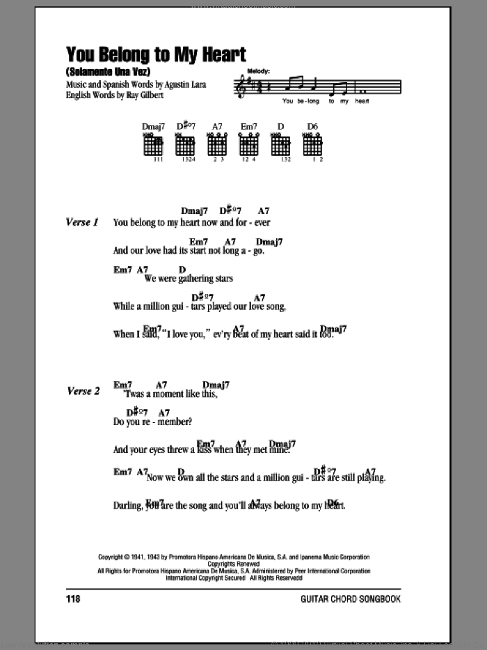 You Belong To My Heart (Solamente Una Vez) sheet music for guitar (chords) by Agustin Lara and Ray Gilbert. Score Image Preview.