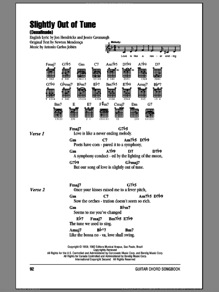 Slightly Out Of Tune (Desafinado) sheet music for guitar (chords, lyrics, melody) by Newton Mendonca