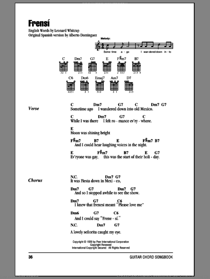 Frenesi sheet music for guitar (chords) by Alberto Dominguez