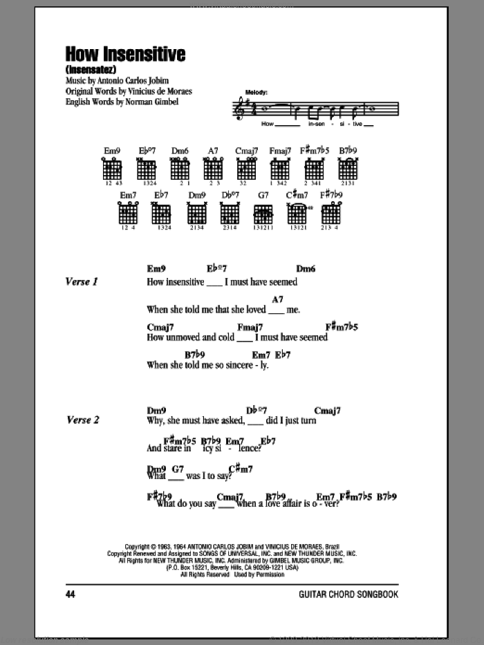 How Insensitive (Insensatez) sheet music for guitar (chords) by Norman Gimbel and Antonio Carlos Jobim. Score Image Preview.