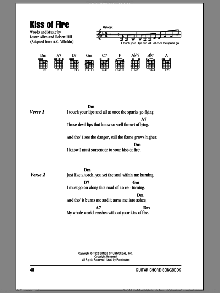 Kiss Of Fire sheet music for guitar (chords) by Robert Hill and Lester Allen. Score Image Preview.