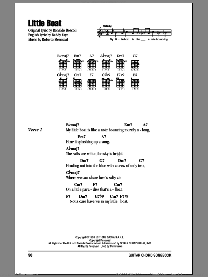 Little Boat sheet music for guitar (chords) by Buddy Kaye, Roberto Menescal and Ronaldo Boscoli, intermediate. Score Image Preview.