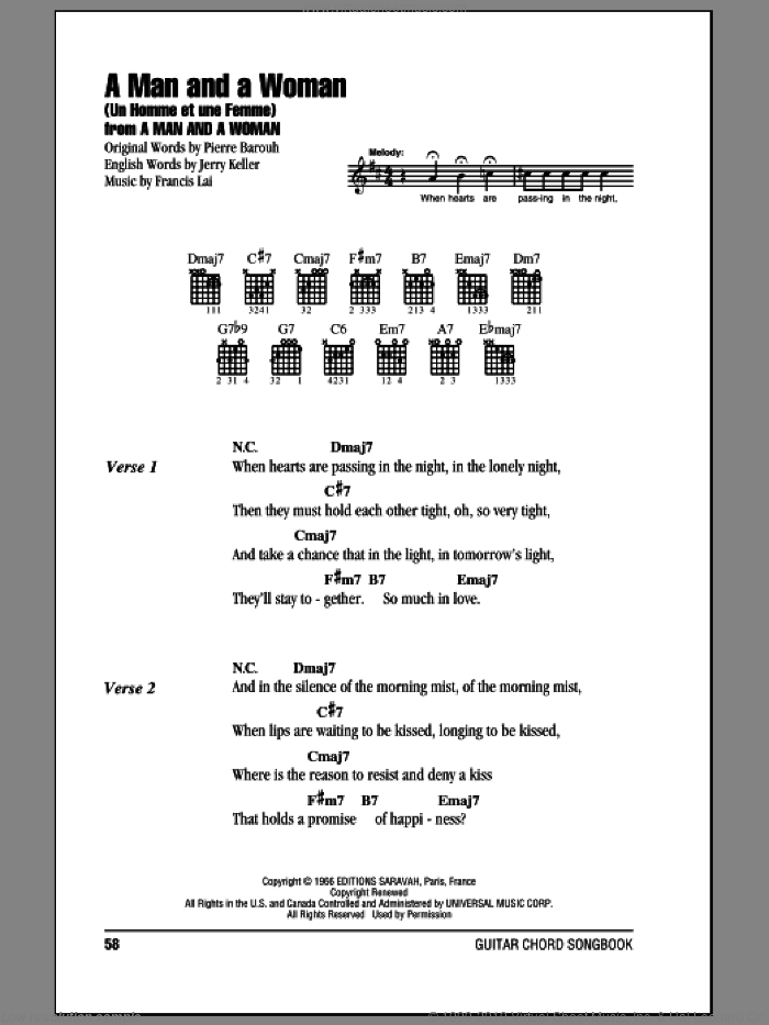 A Man And A Woman (Un Homme Et Une Femme) sheet music for guitar (chords) by Pierre Barouh, Francis Lai and Jerry Keller. Score Image Preview.