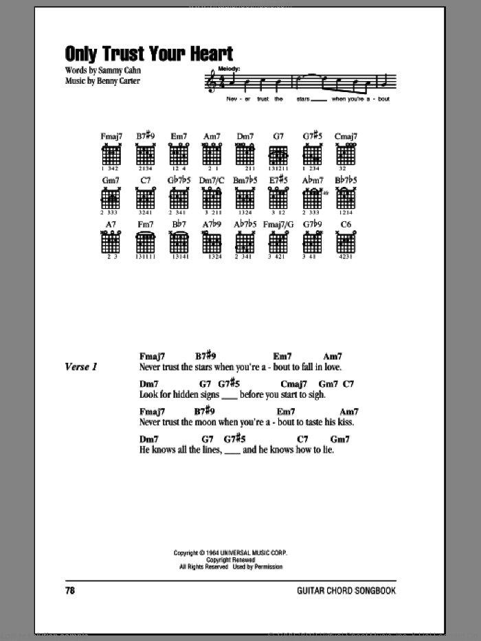 Only Trust Your Heart sheet music for guitar (chords) by Benny Carter