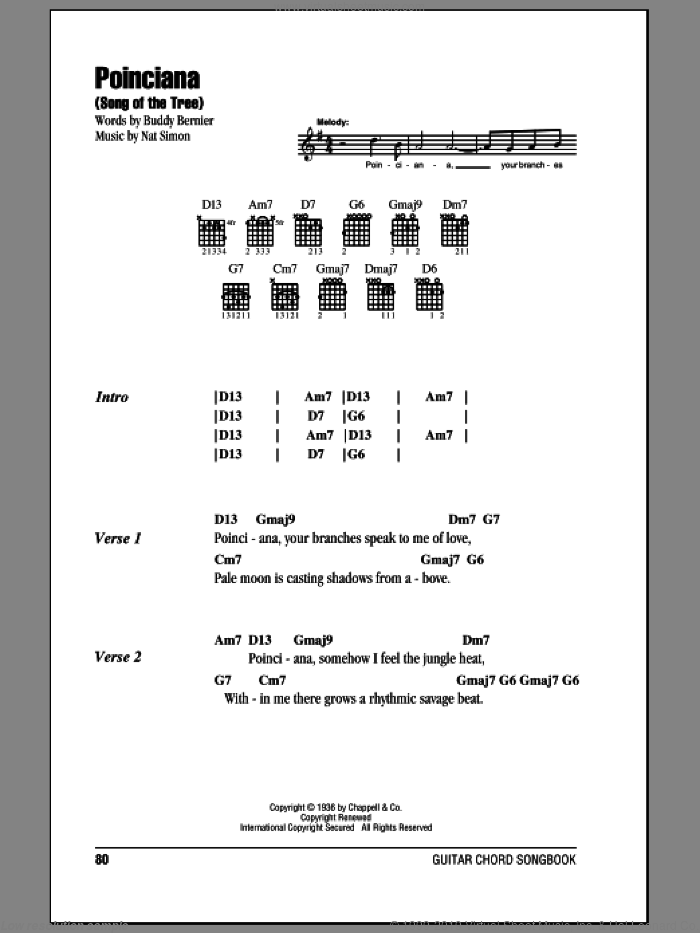 Poinciana (Song Of The Tree) sheet music for guitar (chords) by Buddy Bernier and Nat Simon, intermediate skill level