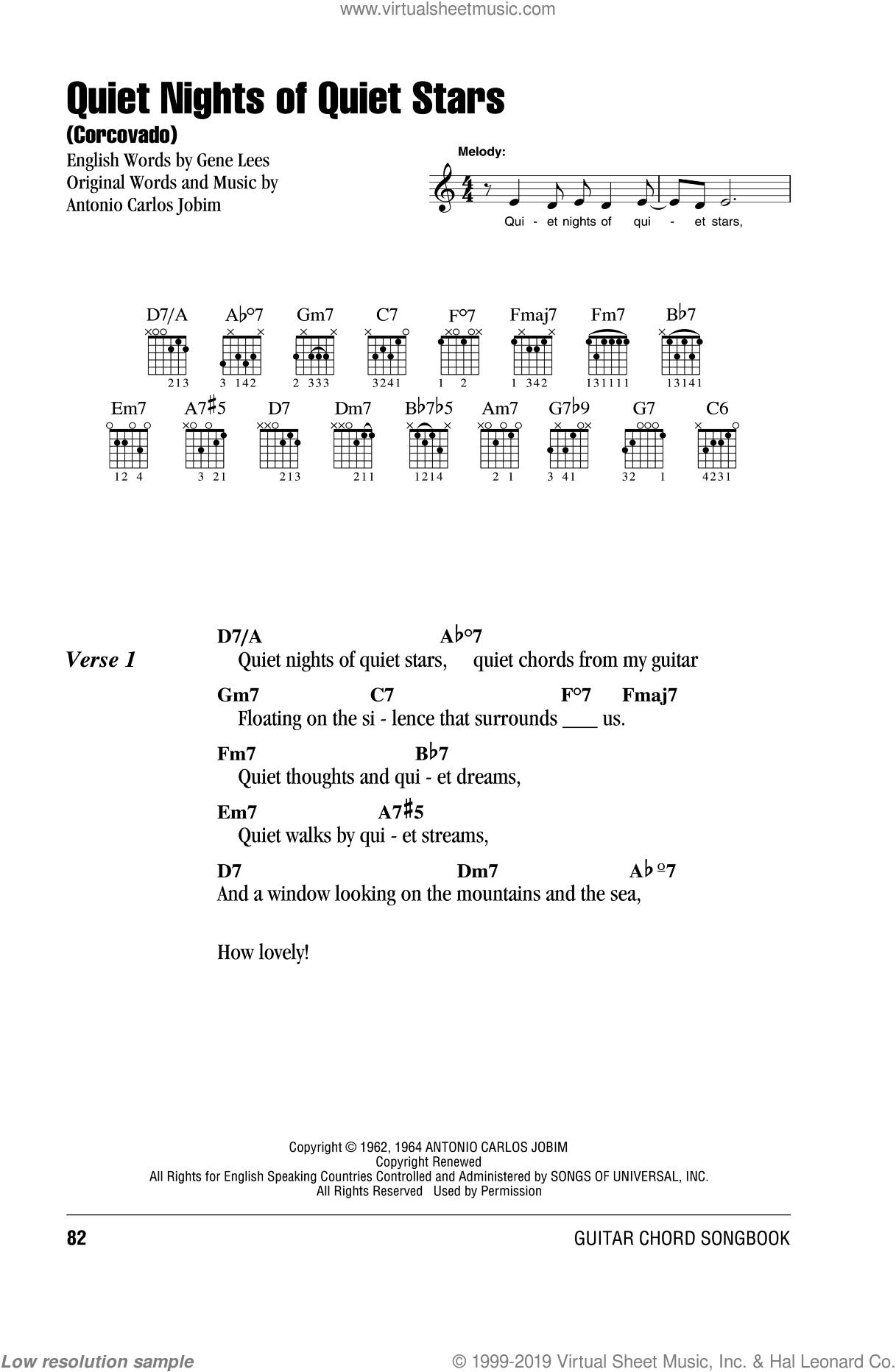 Jobim - Quiet Nights Of Quiet Stars (Corcovado) sheet music for ...