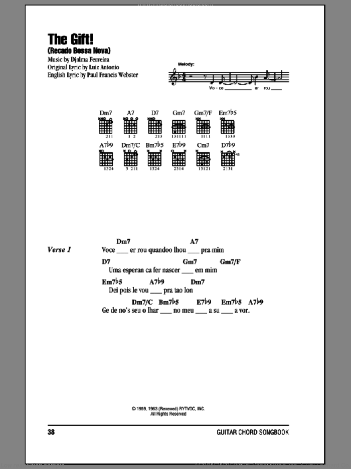 The Gift! (Recado Bossa Nova) sheet music for guitar (chords) by Luiz Antonio, Djalma Ferreira and Paul Francis Webster, intermediate skill level