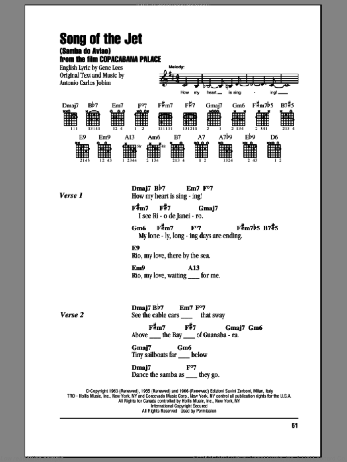 Song Of The Jet (Samba do Aviao) sheet music for guitar (chords) by Antonio Carlos Jobim and Eugene John Lees, intermediate. Score Image Preview.