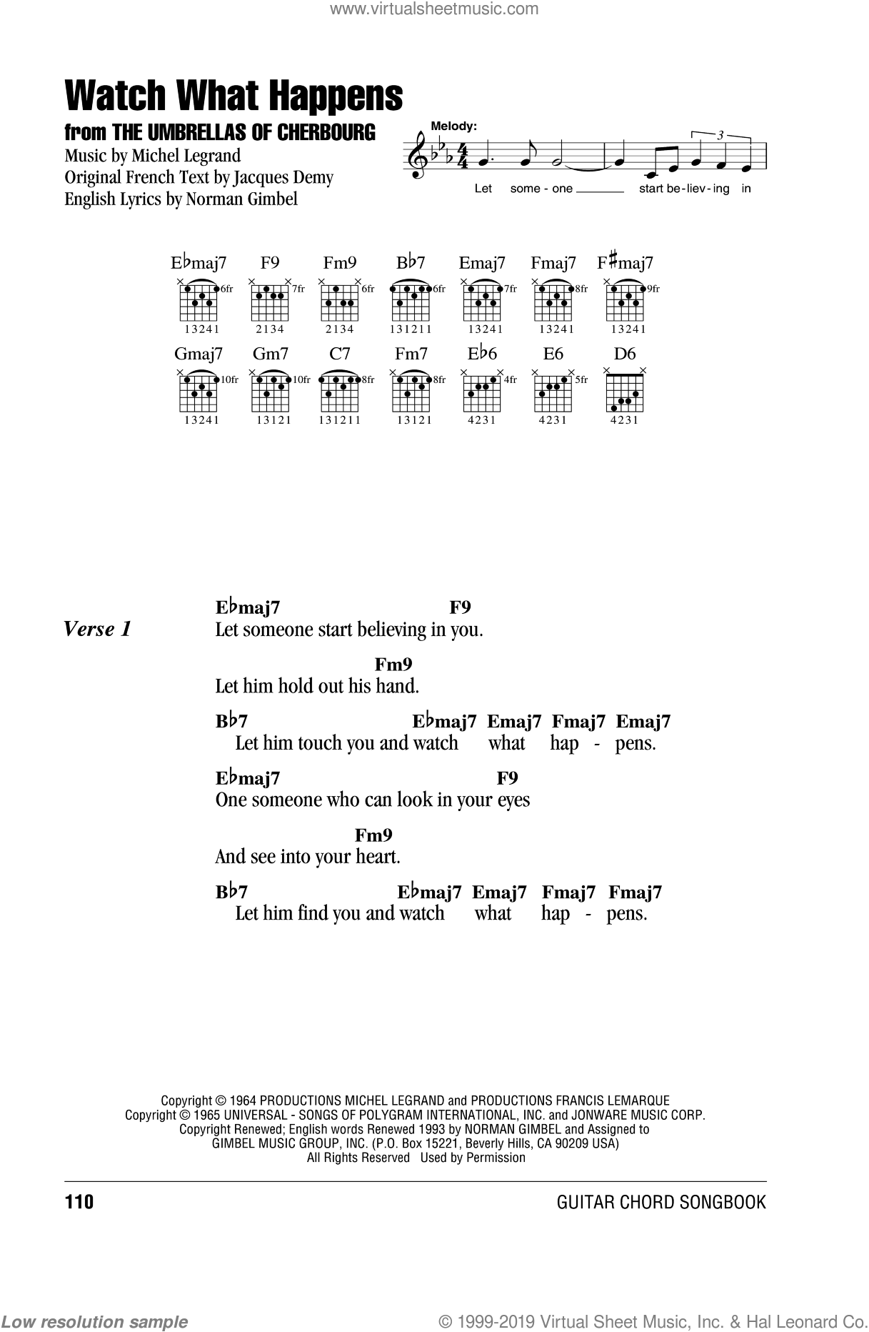 Watch What Happens sheet music for guitar (chords) by Michel LeGrand and Norman Gimbel, intermediate guitar (chords). Score Image Preview.