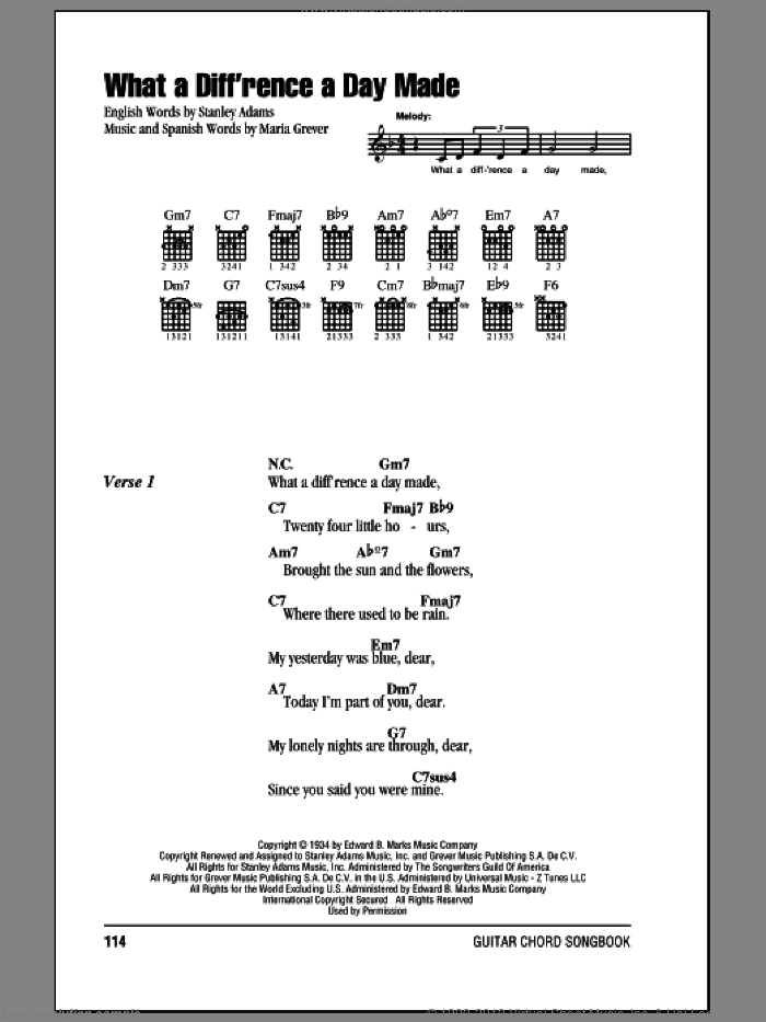 What A Diff'rence A Day Made sheet music for guitar (chords) by Maria Grever and Stanley Adams. Score Image Preview.