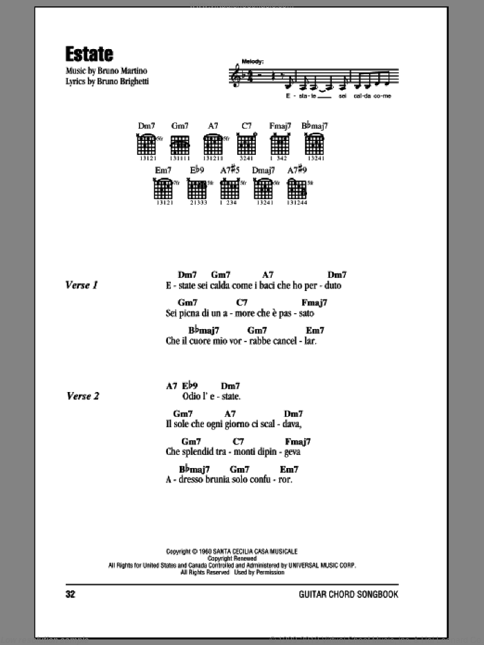 Estate sheet music for guitar (chords) by Bruno Brighetti and Bruno Martino. Score Image Preview.