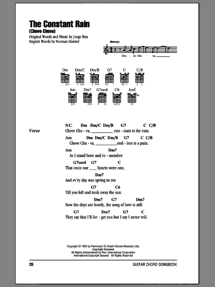 The Constant Rain (Chove Chuva) sheet music for guitar (chords) by Jorge Ben and Norman Gimbel. Score Image Preview.