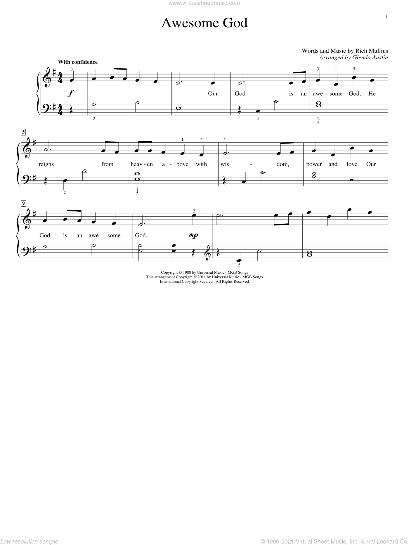 Awesome God sheet music for piano solo (elementary) by Rich Mullins and Glenda Austin. Score Image Preview.
