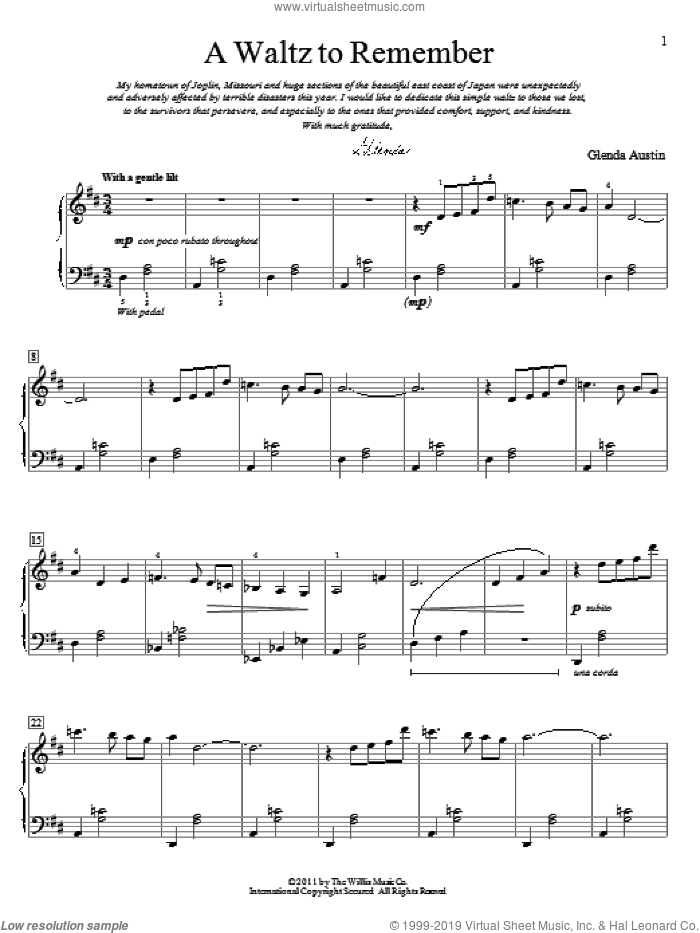 A Waltz To Remember sheet music for piano solo (elementary) by Glenda Austin, classical score, beginner piano (elementary)