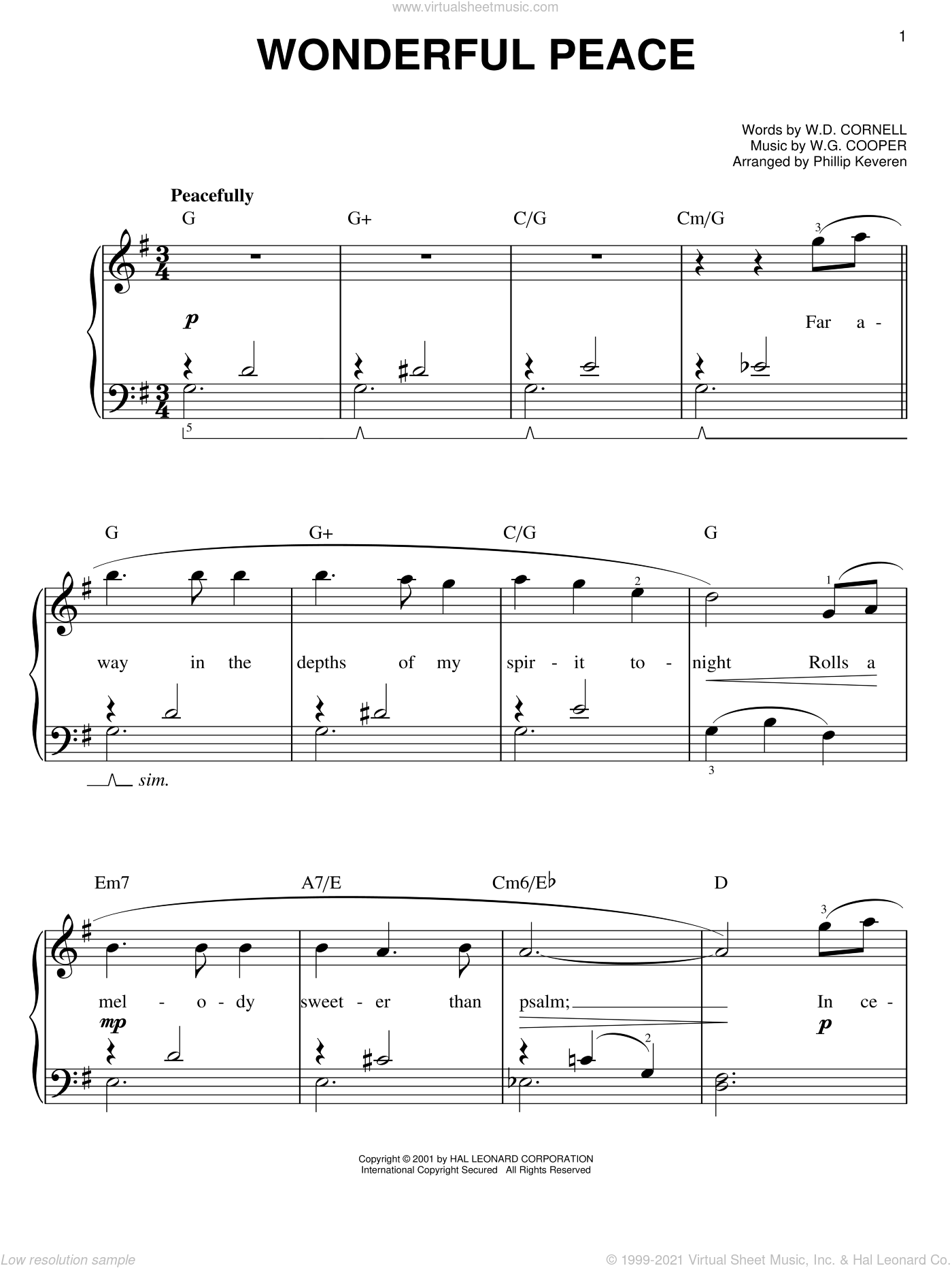 Wonderful Peace sheet music for piano solo by W.D. Cornell, Phillip Keveren and W.G. Cooper, easy skill level