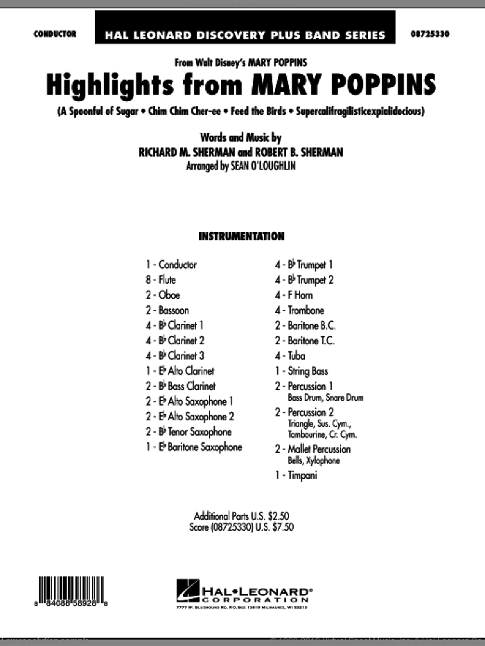 Highlights from Mary Poppins (COMPLETE) sheet music for concert band by Richard M. Sherman, Robert B. Sherman, Mary Poppins (Movie) and Sherman Brothers, intermediate skill level