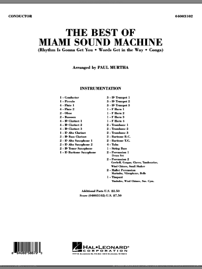 The Best Of Miami Sound Machine sheet music for concert band (full score) by Paul Murtha