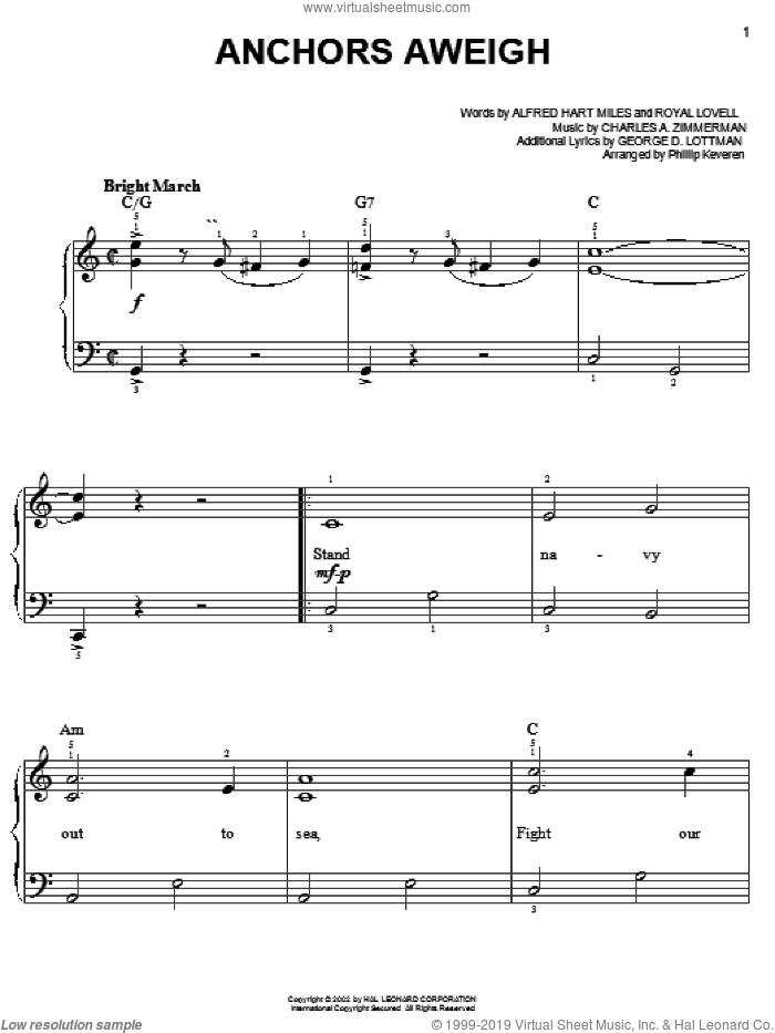 Anchors Aweigh sheet music for piano solo by Alfred Hart Miles, Phillip Keveren, Charles A. Zimmerman, George D. Lottman and Royal Lovell, easy skill level