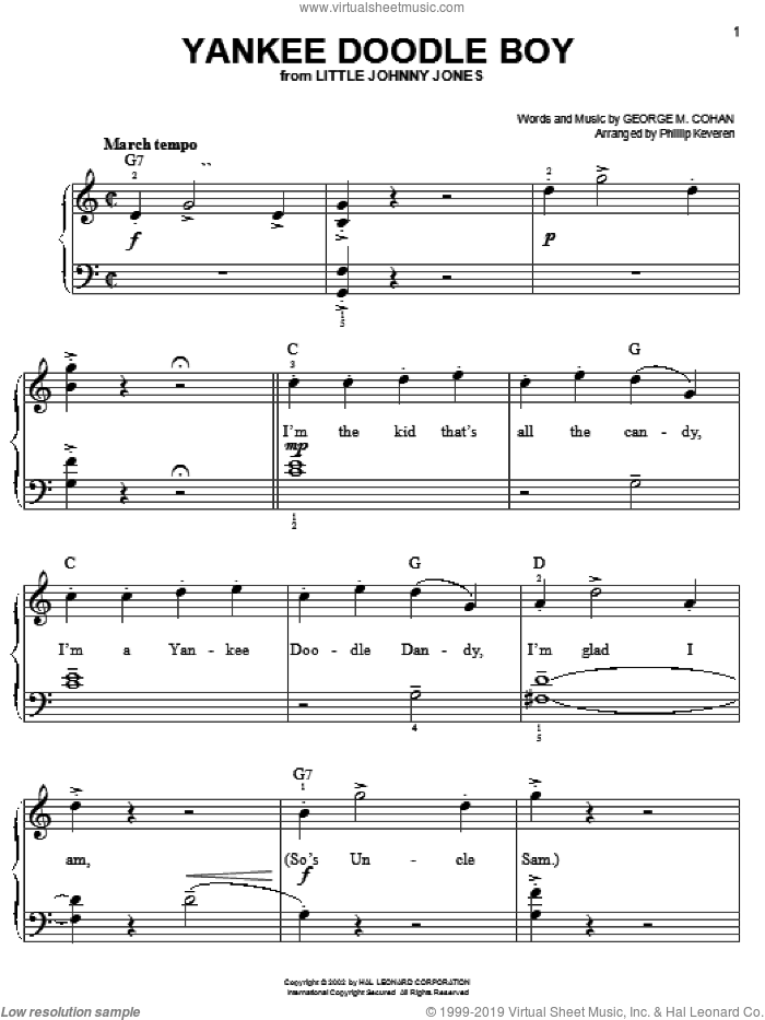 Yankee Doodle Boy, (easy) sheet music for piano solo by George M. Cohan, Phillip Keveren and George Cohan, classical score, easy skill level