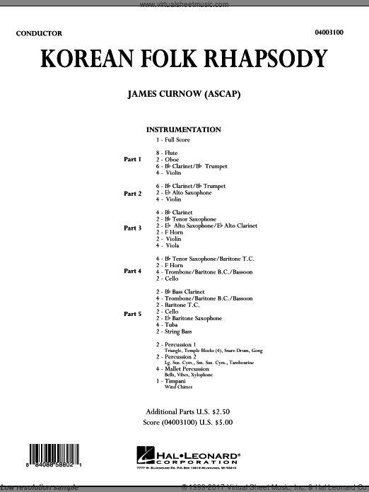 Korean Folk Rhapsody (COMPLETE) sheet music for concert band by James Curnow