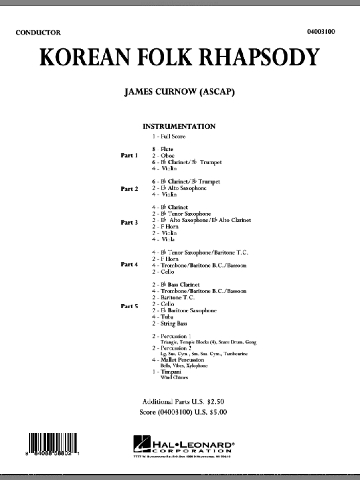 Korean Folk Rhapsody (COMPLETE) sheet music for concert band by James Curnow, intermediate skill level