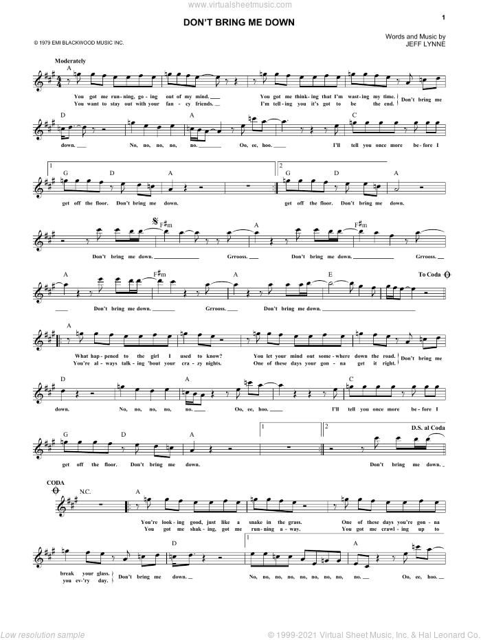 Don't Bring Me Down sheet music for voice and other instruments (fake book) by Jeff Lynne. Score Image Preview.