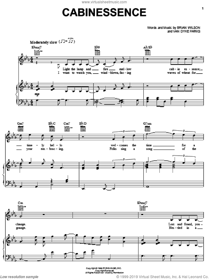 Cabinessence sheet music for voice, piano or guitar by Brian Wilson, The Beach Boys and Van Dyke Parks, intermediate skill level