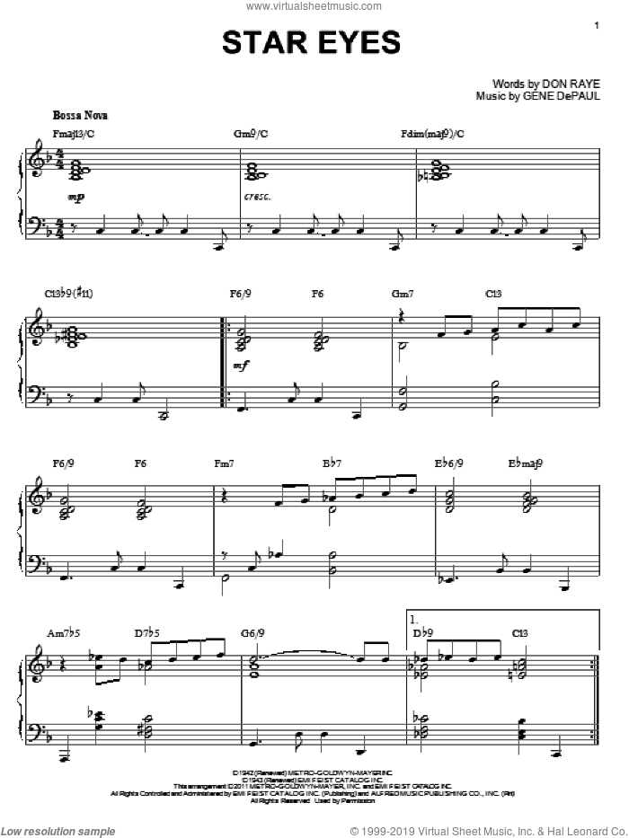 Star Eyes sheet music for piano solo by Charlie Parker, Don Raye and Gene DePaul, intermediate piano. Score Image Preview.