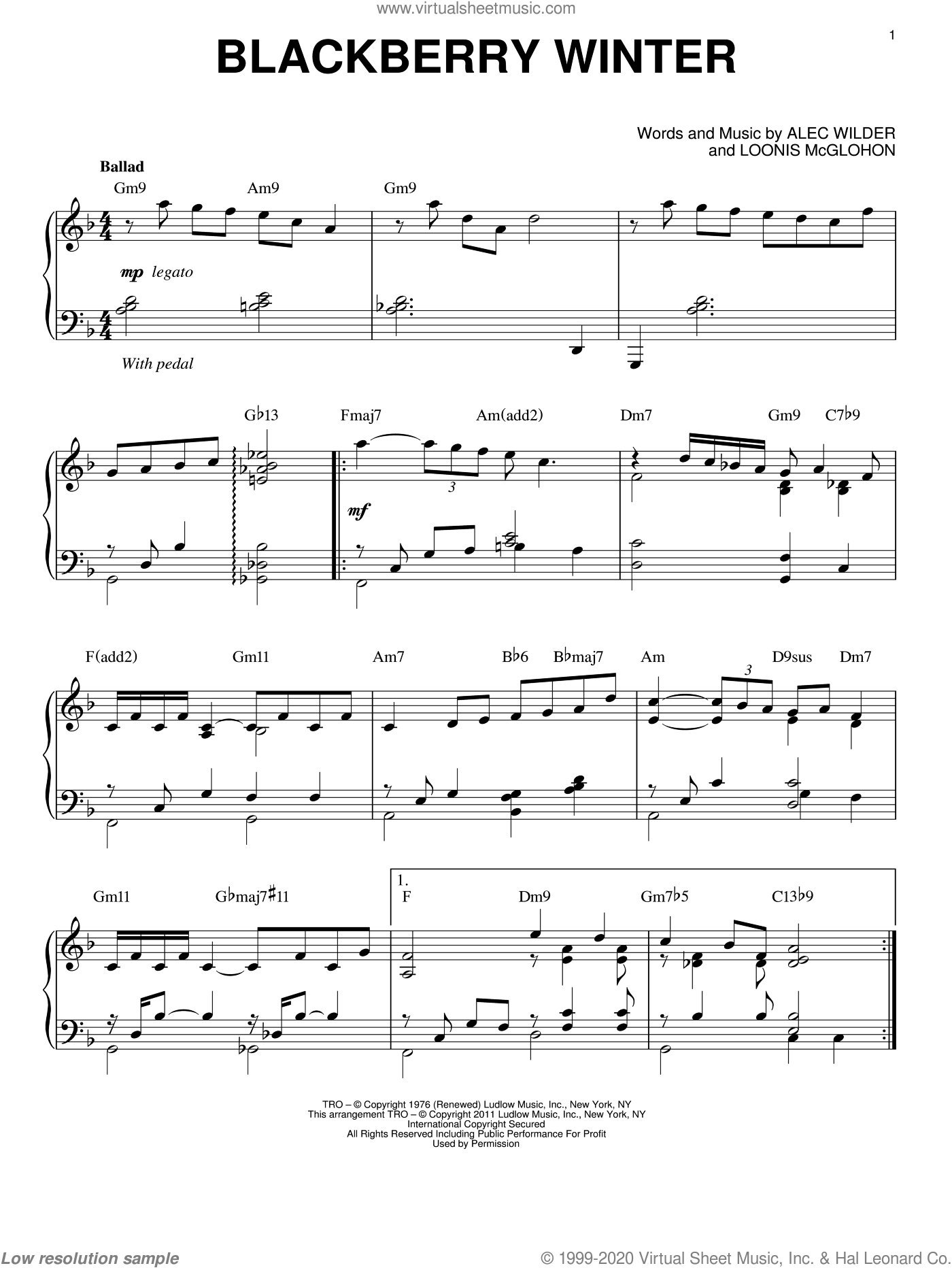Blackberry Winter sheet music for piano solo by Alec Wilder and Loonis McGlohon, intermediate. Score Image Preview.