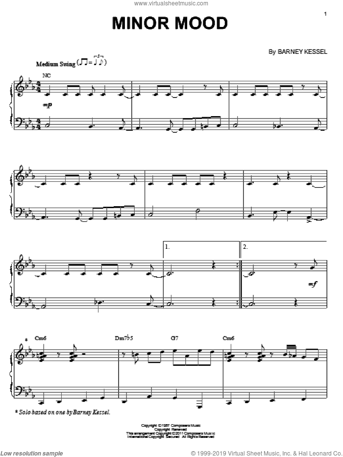Minor Mood sheet music for piano solo by Clifford Brown and Barney Kessel, intermediate skill level