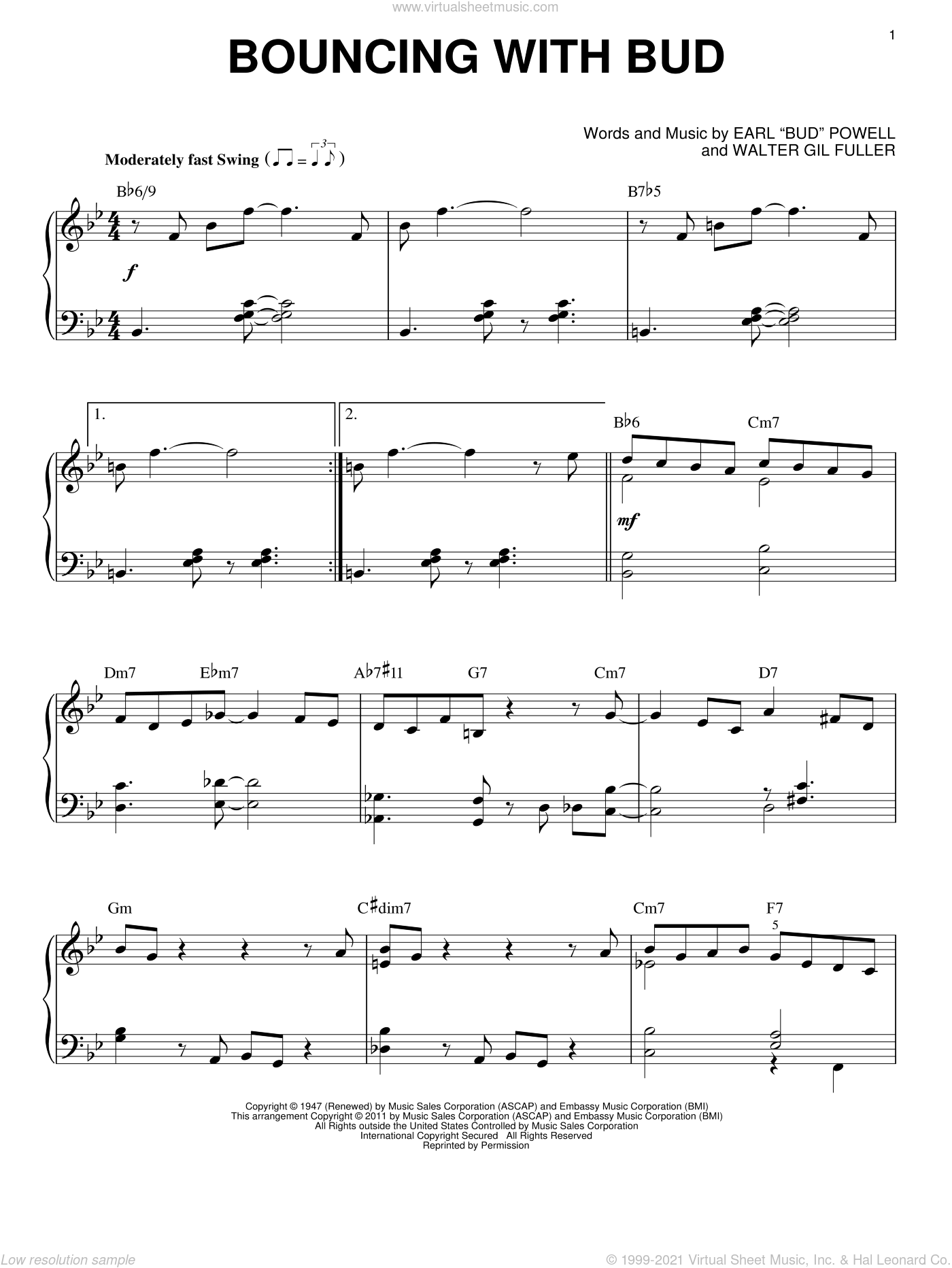 Bouncing With Bud sheet music for piano solo by Bud Powell and Walter Gil Fuller, intermediate skill level