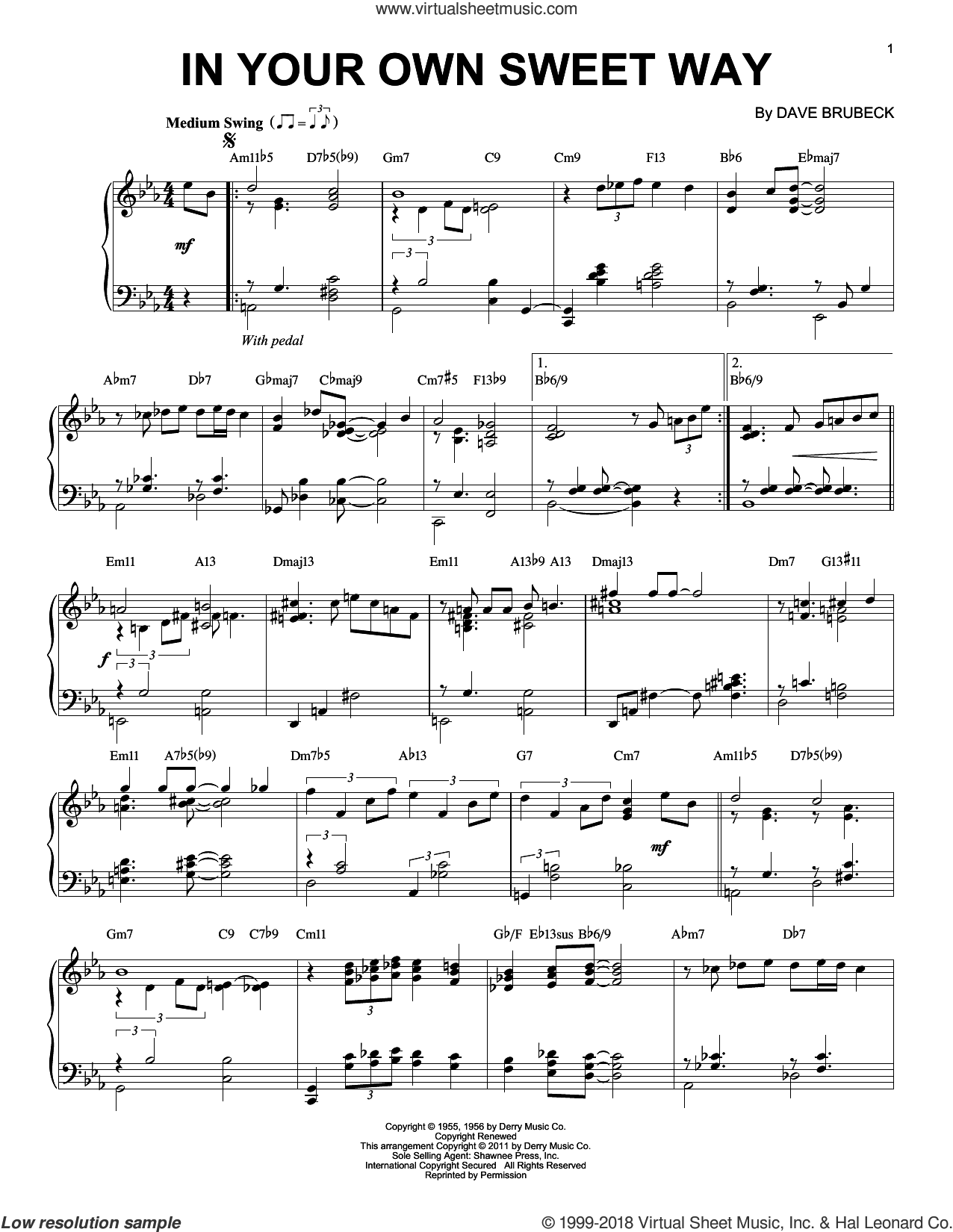 In Your Own Sweet Way sheet music for piano solo by Dave Brubeck, intermediate skill level