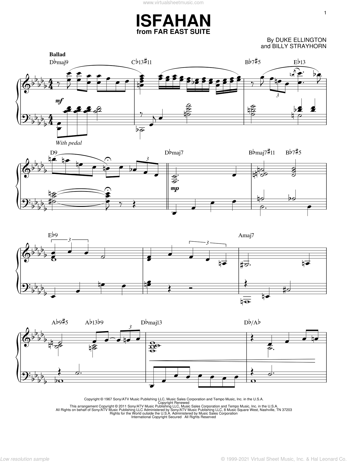 Isfahan sheet music for piano solo by Duke Ellington and Billy Strayhorn, intermediate skill level
