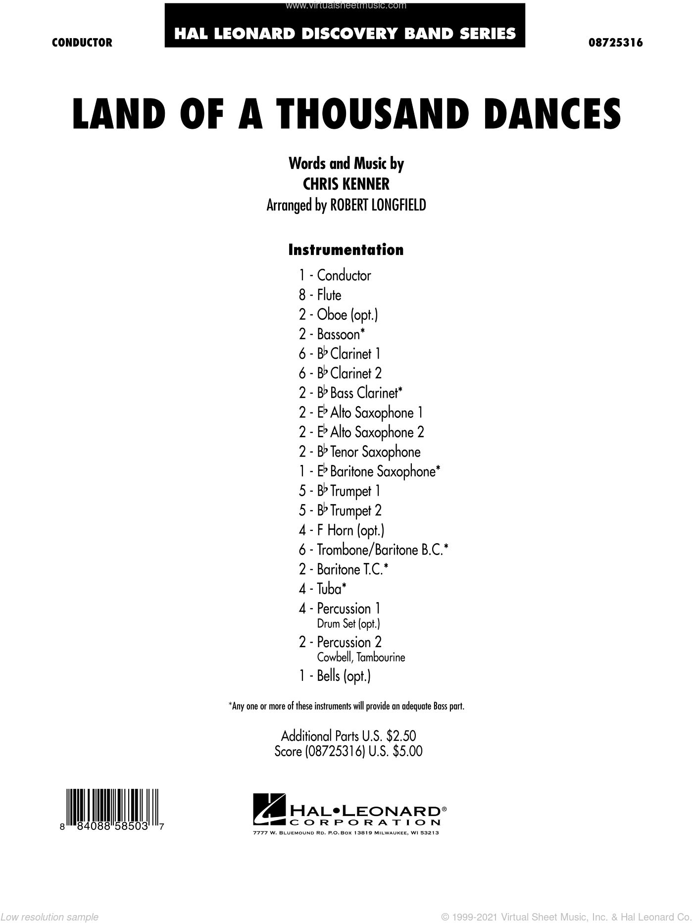 Land Of A Thousand Dances sheet music for concert band (full score) by Chris Kenner