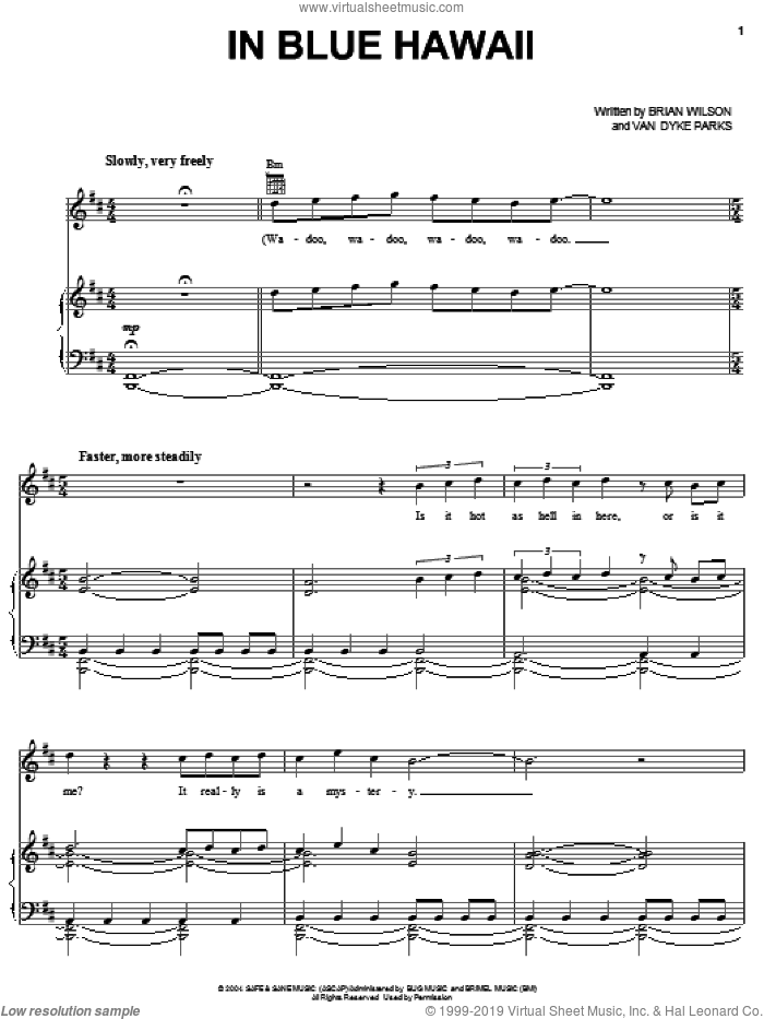 In Blue Hawaii sheet music for voice, piano or guitar by Van Dyke Parks and Brian Wilson. Score Image Preview.