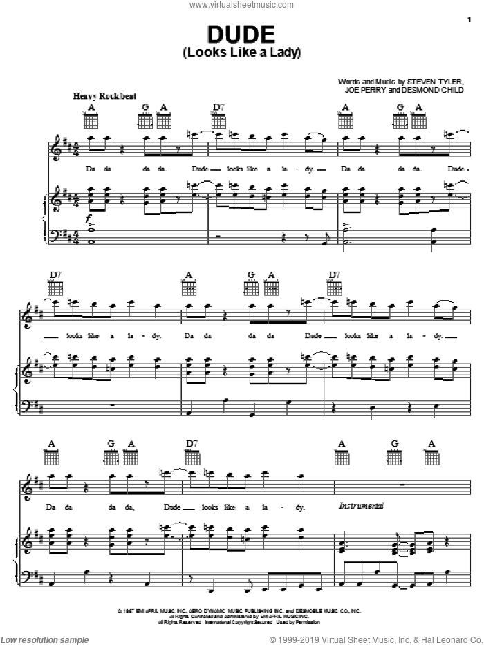 Dude (Looks Like A Lady) sheet music for voice, piano or guitar by Aerosmith, Desmond Child, Joe Perry and Steven Tyler, intermediate skill level