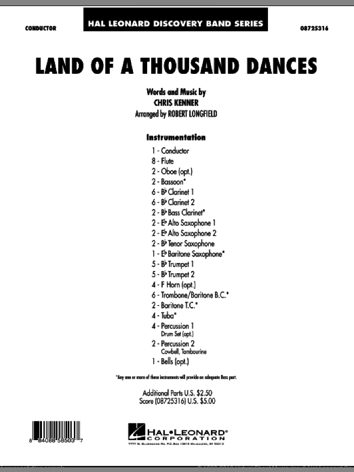 Land Of A Thousand Dances (COMPLETE) sheet music for concert band by Robert Longfield, Chris Kenner and Wilson Picket, intermediate skill level