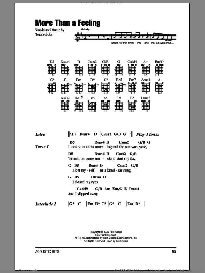 More Than A Feeling sheet music for guitar (chords) by Boston and Tom Scholz, intermediate. Score Image Preview.