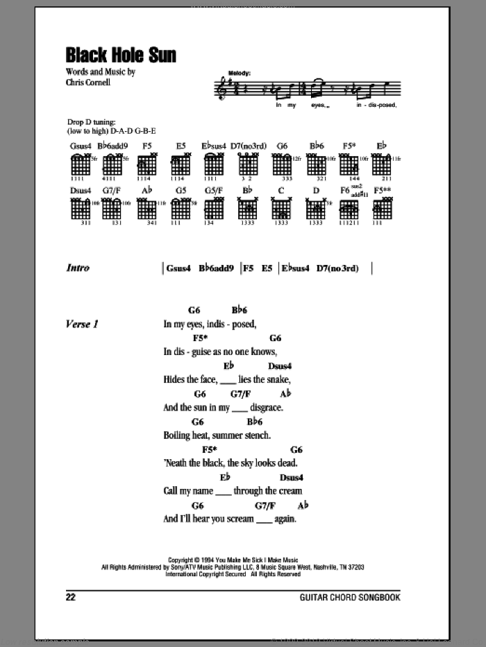 Black Hole Sun sheet music for guitar (chords) by Chris Cornell and Soundgarden. Score Image Preview.
