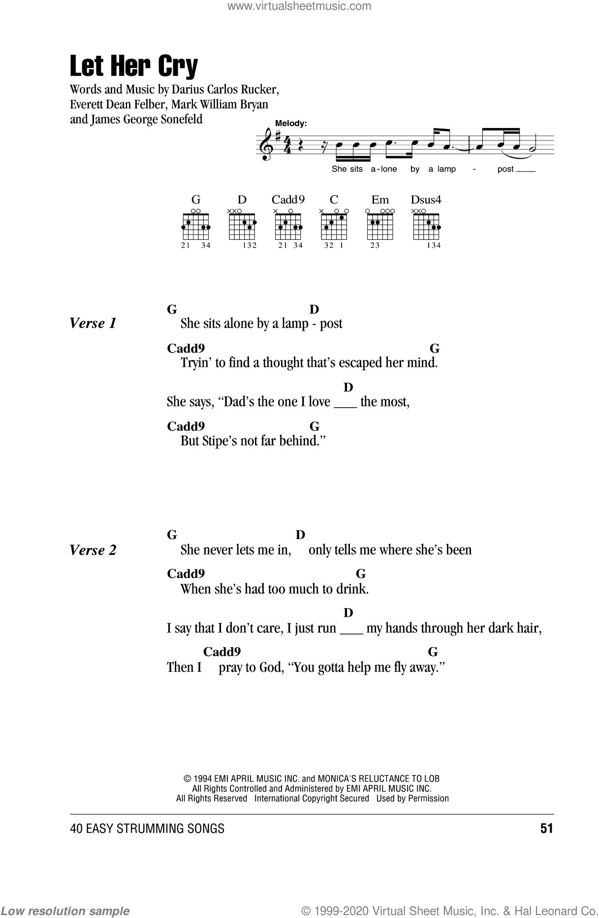 Let Her Cry sheet music for guitar (chords) by Mark William Bryan