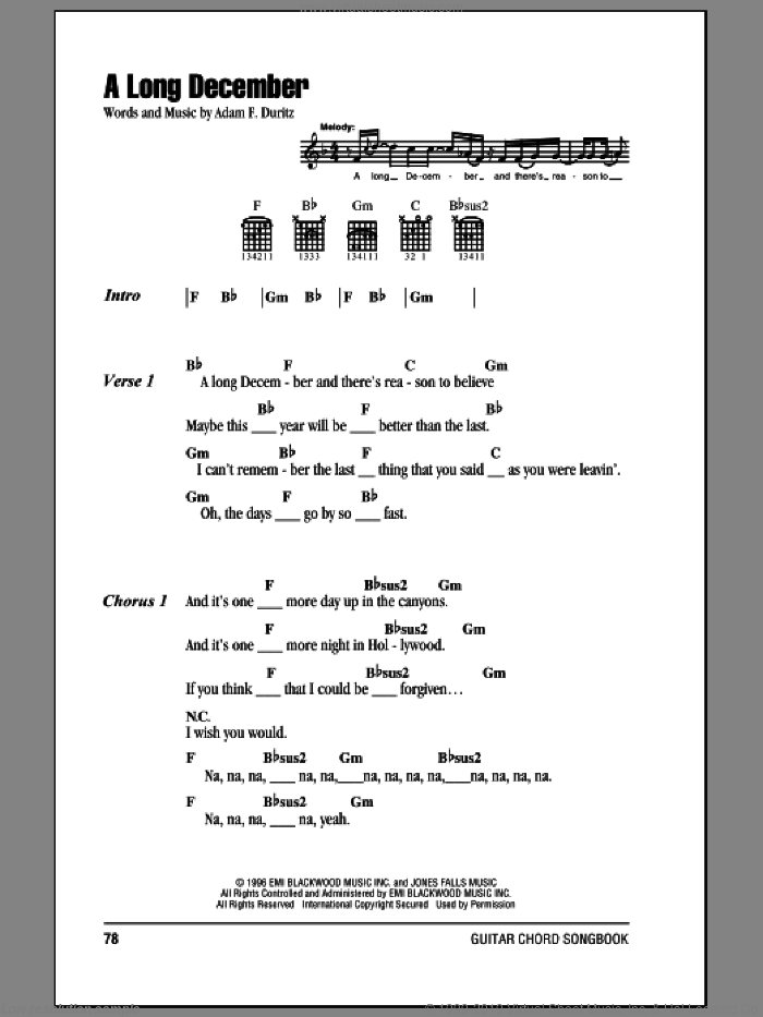 A Long December sheet music for guitar (chords) by Counting Crows and Adam Duritz, intermediate. Score Image Preview.