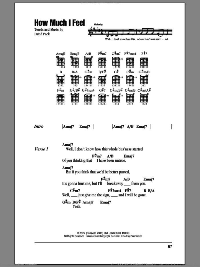Ambrosia - How Much I Feel sheet music for guitar (chords) [PDF]