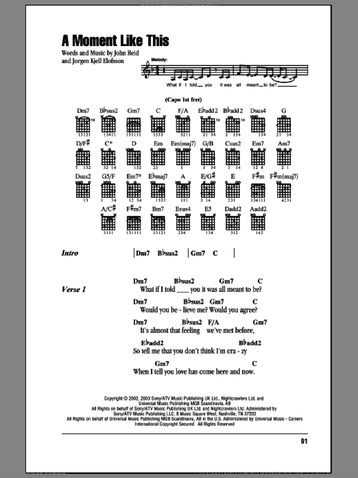 A Moment Like This sheet music for guitar (chords, lyrics, melody) by Jorgen Elofsson