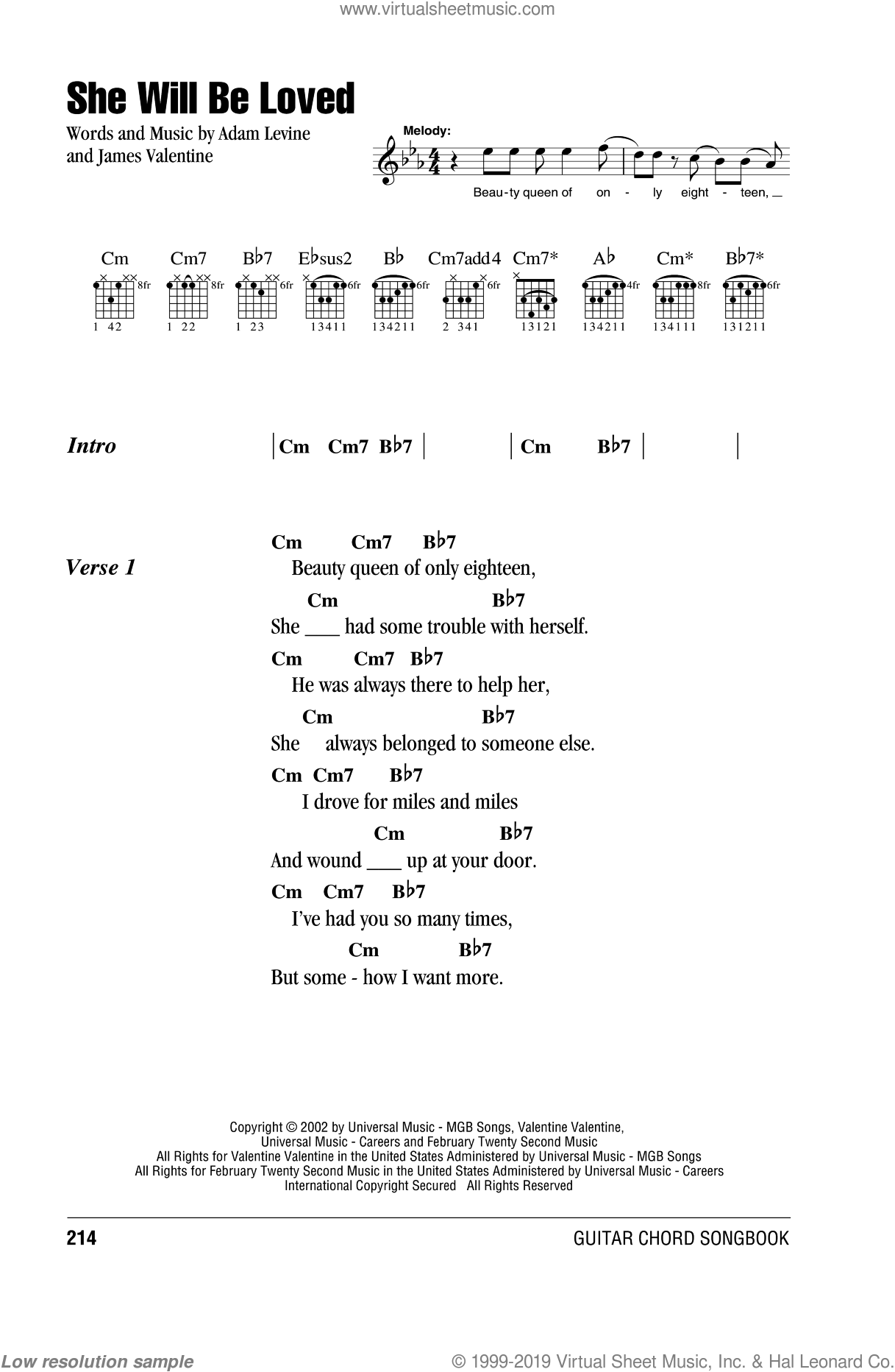She Will Be Loved sheet music for guitar (chords) by Maroon 5, Adam Levine and James Valentine. Score Image Preview.