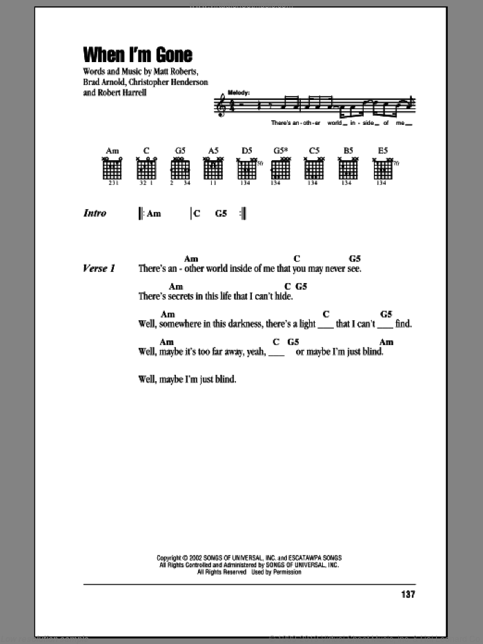 When I'm Gone sheet music for guitar (chords) by 3 Doors Down, intermediate. Score Image Preview.