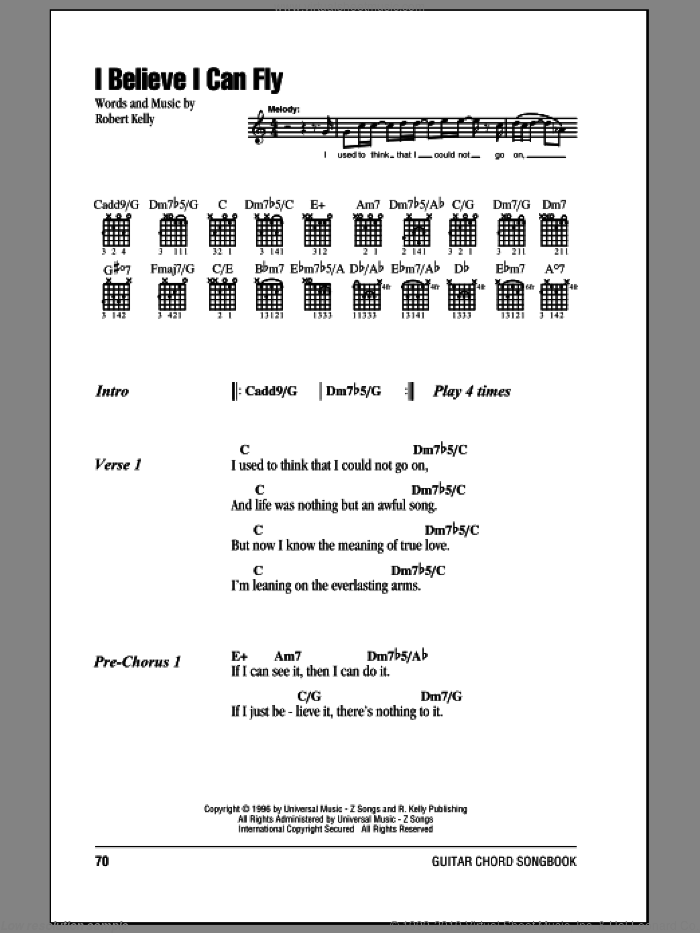 I Believe I Can Fly sheet music for guitar (chords) by Robert Kelly. Score Image Preview.