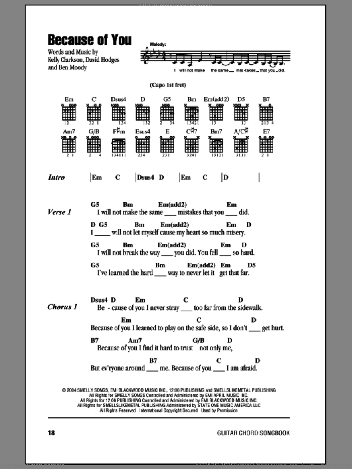 Because Of You sheet music for guitar (chords) by Kelly Clarkson, Ben Moody and David Hodges, intermediate guitar (chords). Score Image Preview.