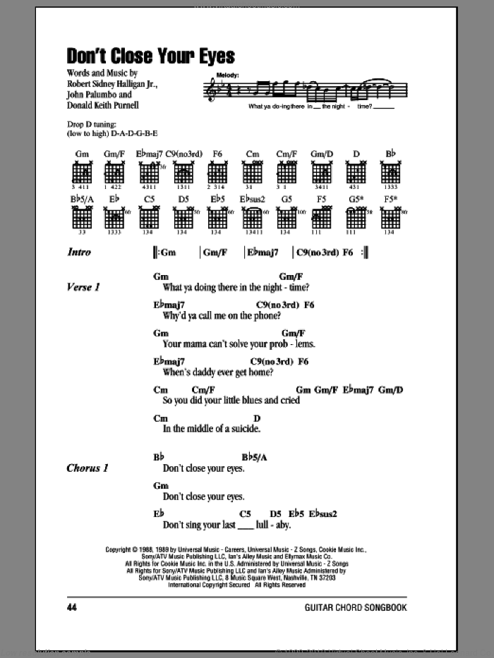 Don't Close Your Eyes sheet music for guitar (chords) by Robert Sidney Halligan Jr.
