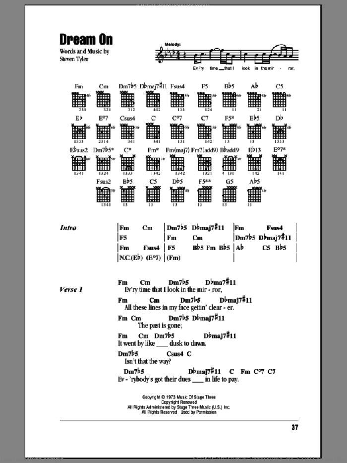 Dream On sheet music for guitar (chords, lyrics, melody) by Steven Tyler